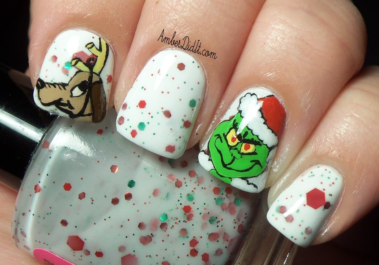 How The Grinch Stoled Christmas Nails Nail Art Pinterest