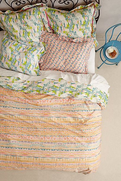 Sleep colorfully. #bedroom #bedding #decorating