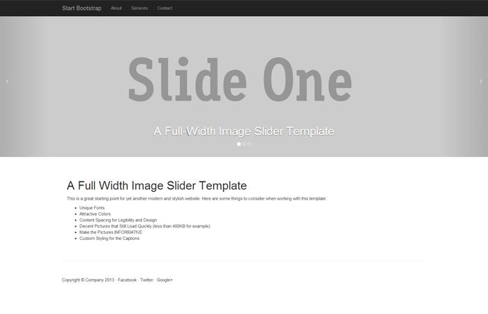 A Free Starter Template For Bootstrap 3 Featuring A Half Page Height Carousel And A Fixed Navigation Bar Sliders Templates Template Free