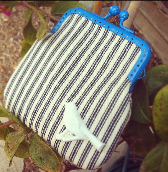 Navy Blue and White Stripped Coin Purse with Blue Kissing Clasp and White Bird Resin Detail