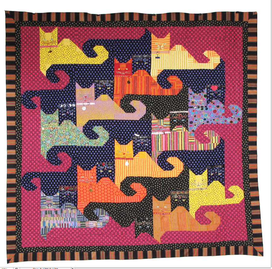 """""""Kitty Memories"""", a tessellating design by Dawn Navarro Ericson. Quilted by Pamela Dransfeldt and published by McCalls Quilting"""