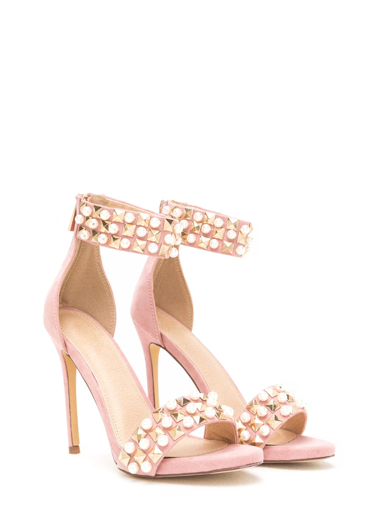 ac5c708b7f8 Pearls And Pyramids Ankle Strap Heels BLACK DUSTYPINK NUDE - GoJane ...
