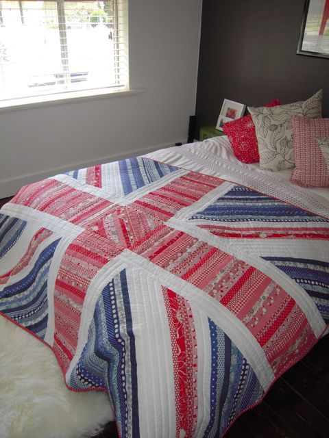 """Superb """"Union Jack Quilt"""" by Renee Frasier of Love Sundays.  I have a friend who would LOVE this quilt.  If I had time to make random quilts ...."""