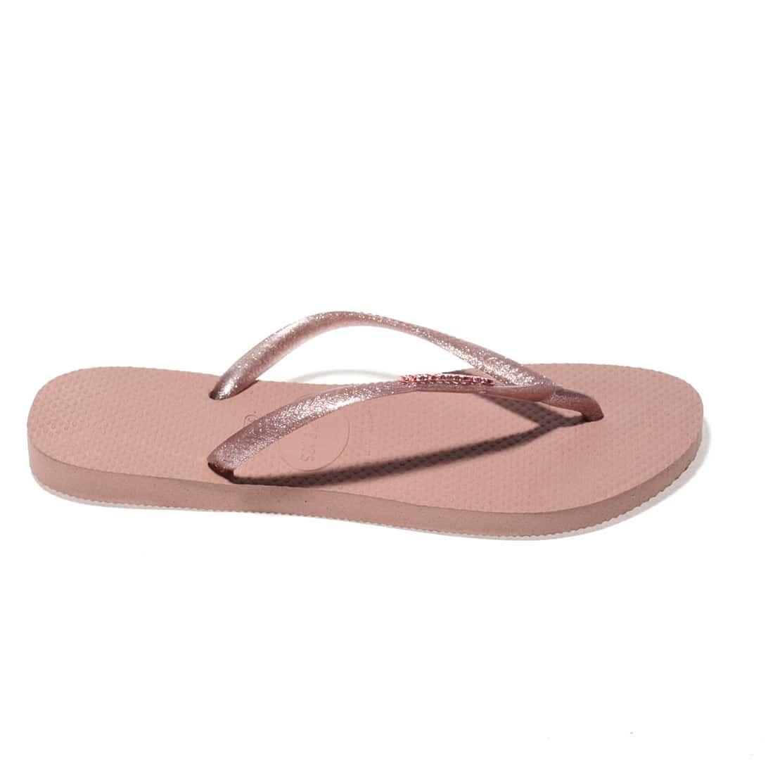 6ef83d43c936a5 womens pale pink havaianas slim logo metallic sandals