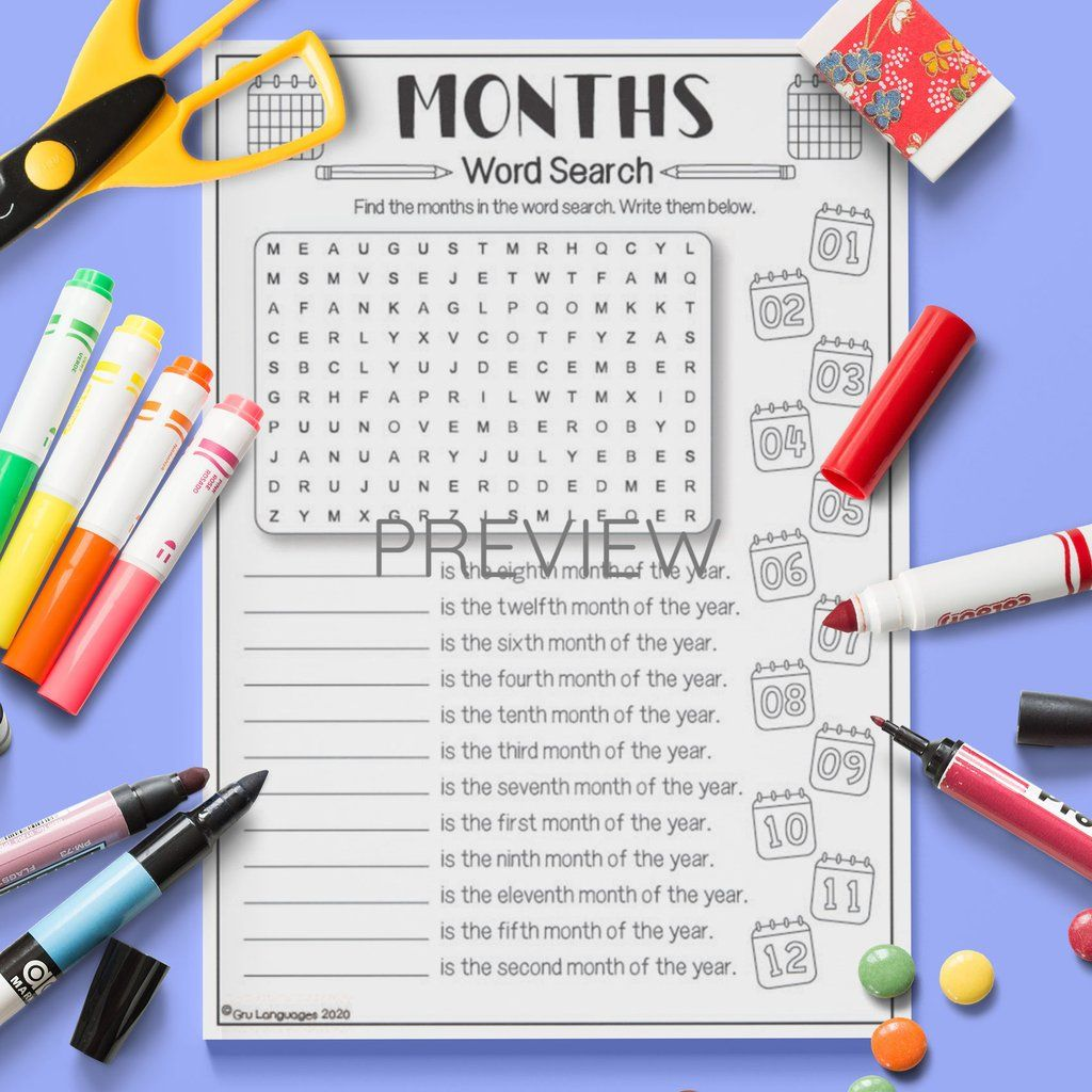 Months Word Search In