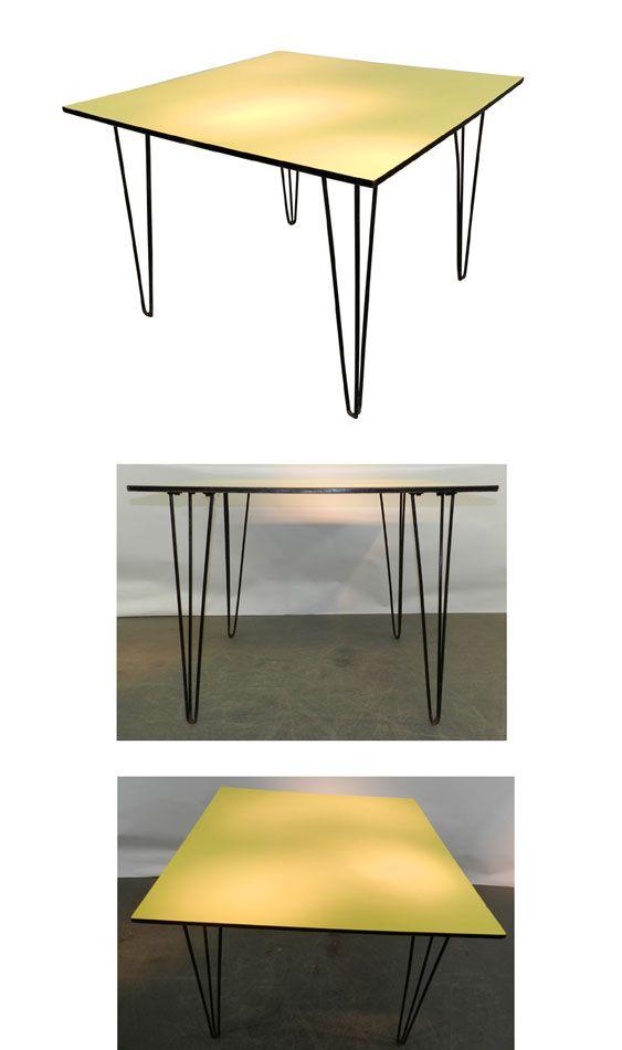 TRAVAIL BELGE 1950 , TABLE, FORMICA ET METAL LAQUE Tables design