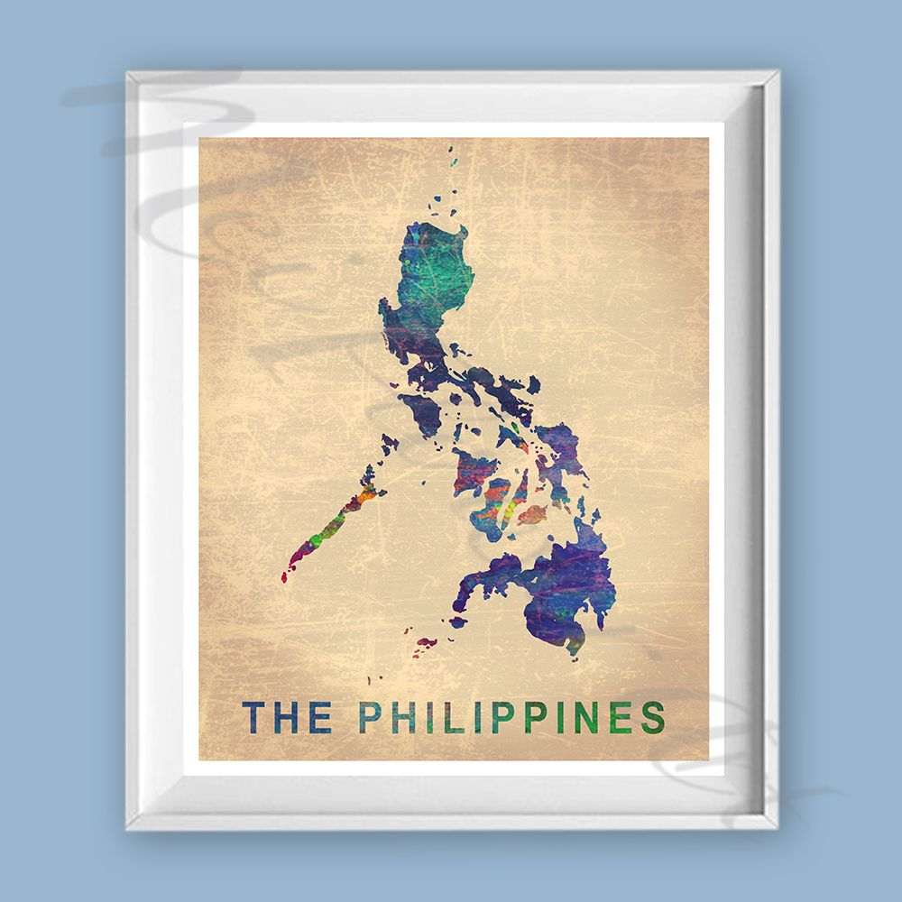 Vintage Philippines Map PRINT, Watercolor painting, Filipino Map ...