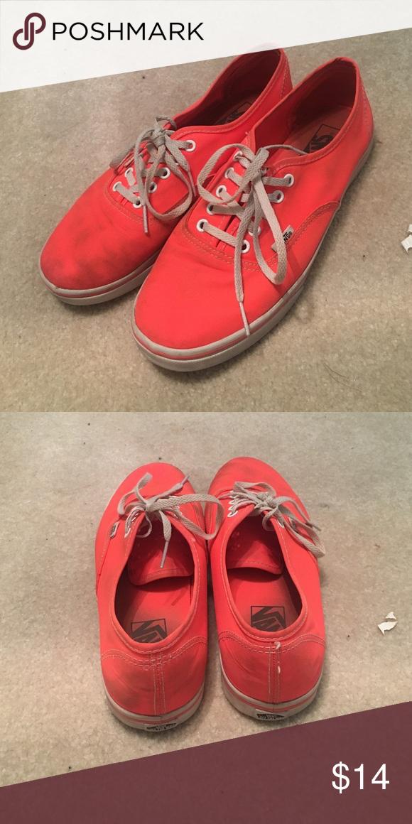 9db537daf8209f Neon Orange Vans men s 7.5 women s 9 Gently worn neon orange vans MENS 7.5  WONENS 9 Vans Shoes Sneakers