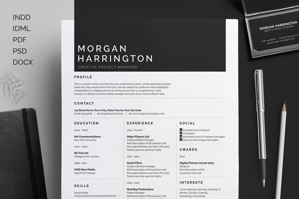 Resume / CV | Cover letter | Business card | customizable template ...