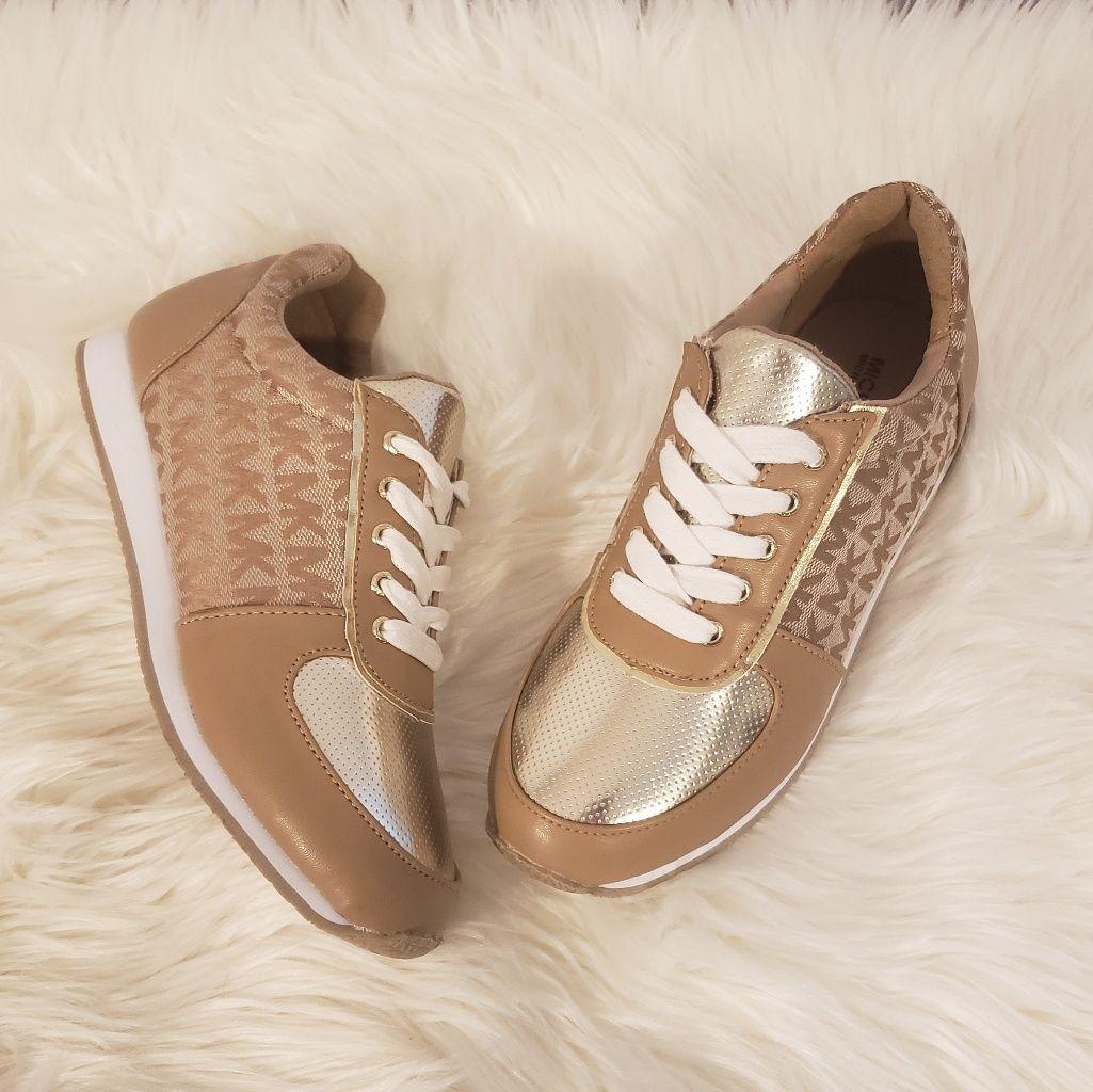 92c37220e Michael Kors Shoes | Michael Kors | Tan And Gold Sneakers | Color: Gold/Tan  | Size: 4g