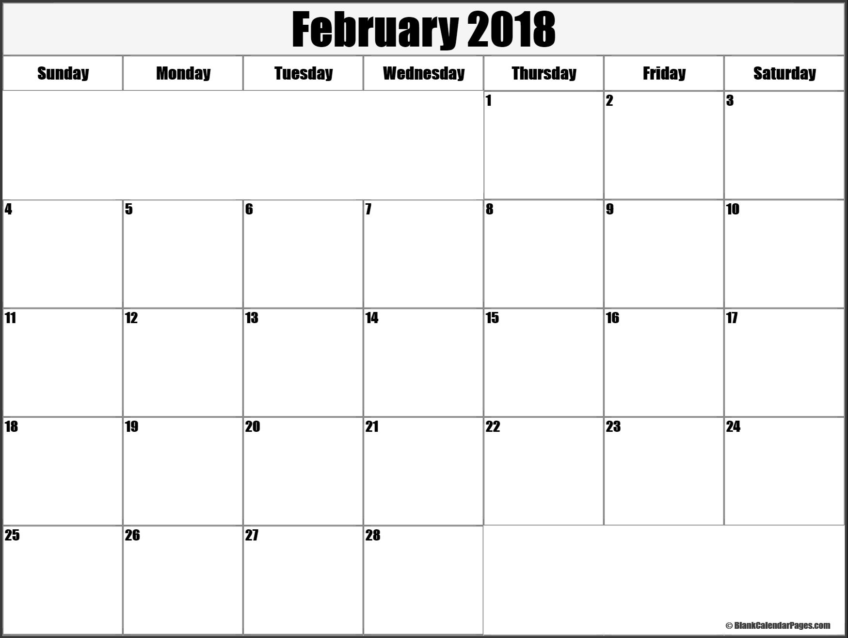 February  Printable Calendar Template Printable February