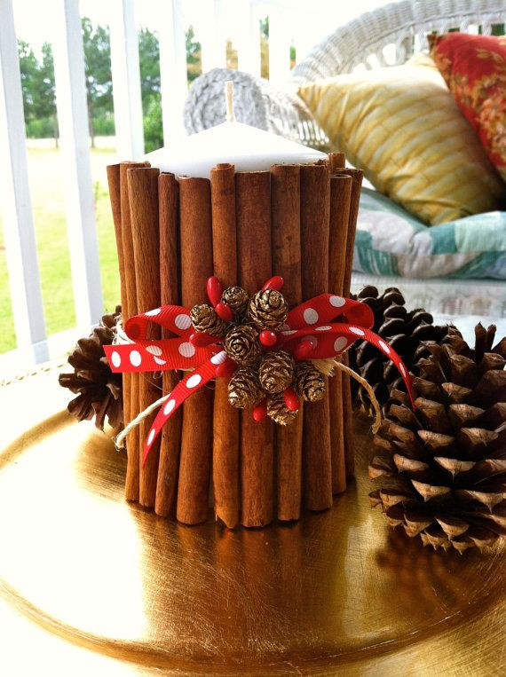 Rustic Christmas Candle With Cinnamon Sticks