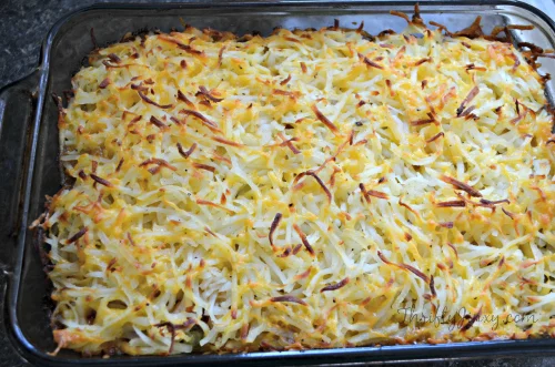 Hashbrown Hamburger Casserole with Veggies and Cheese images