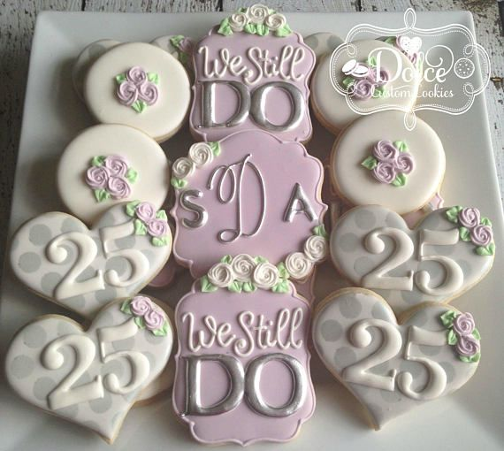 Pin On Wedding Anniversary 2020: 25th Or 50th Wedding Anniversary Silver Or Gold Cookies