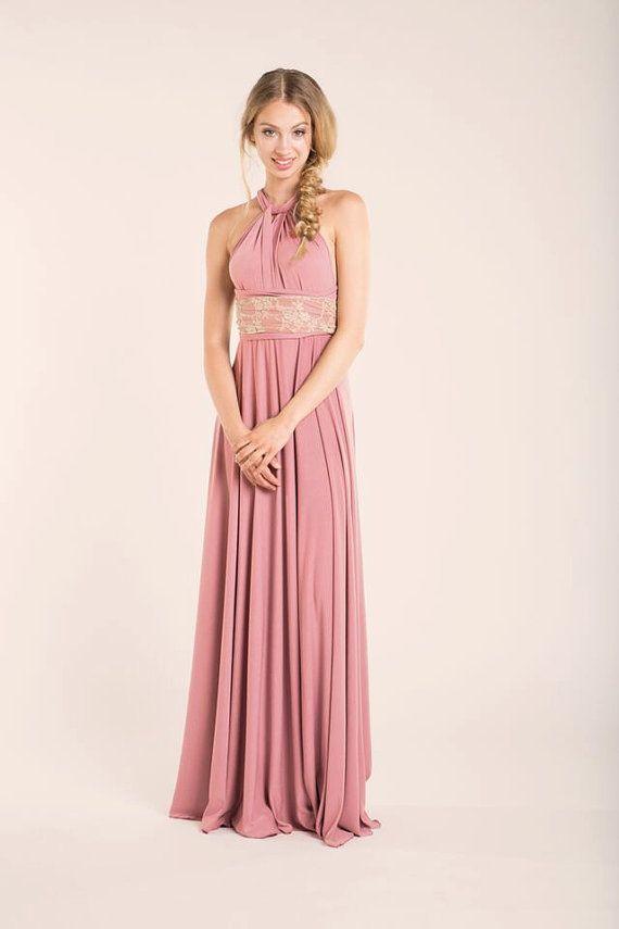 Vestido noche rosa vestido largo rosa vestido fiesta por mimetik ...