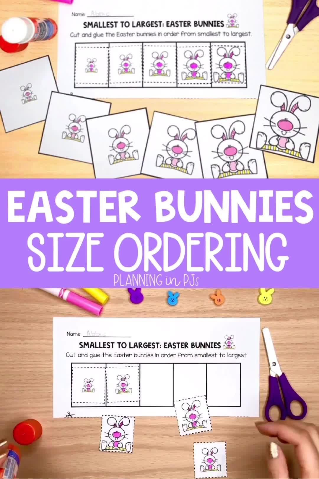 Easter Bunnies Size Ordering From Smallest To Largest Video Easter Kindergarten Easter Activities Easter Bunny