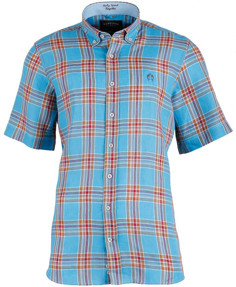 Leinenhemd im attraktiven Karodessin von CLAUDIO #CAMPIONE