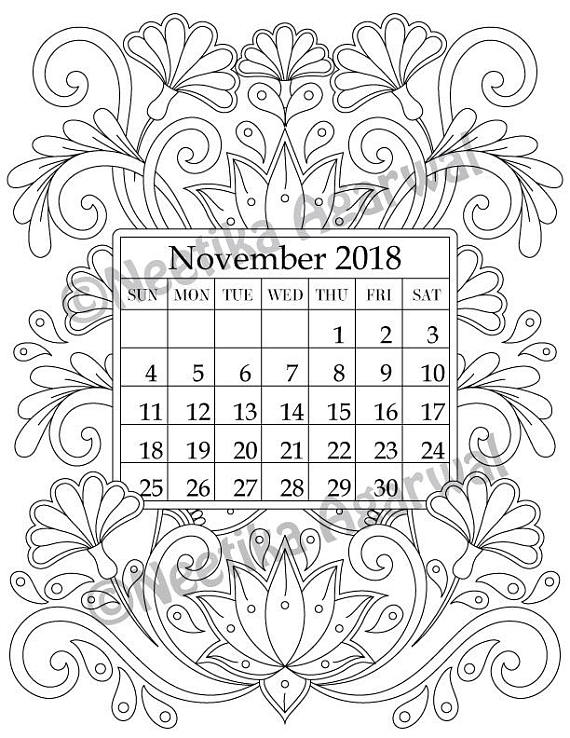 Happy With Printables Calendar November : Happy new year welcome with this intricate