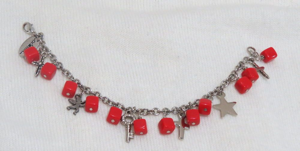 """Charms beads bracelet, chain red bracelet woman 7 1/2"""" #Chain"""