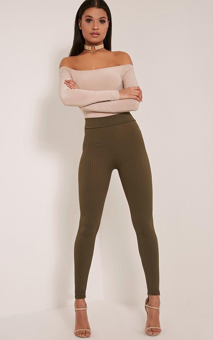 25f4090342cc47 Harlie Khaki Ribbed High Waisted Leggings | bottoms i want ...