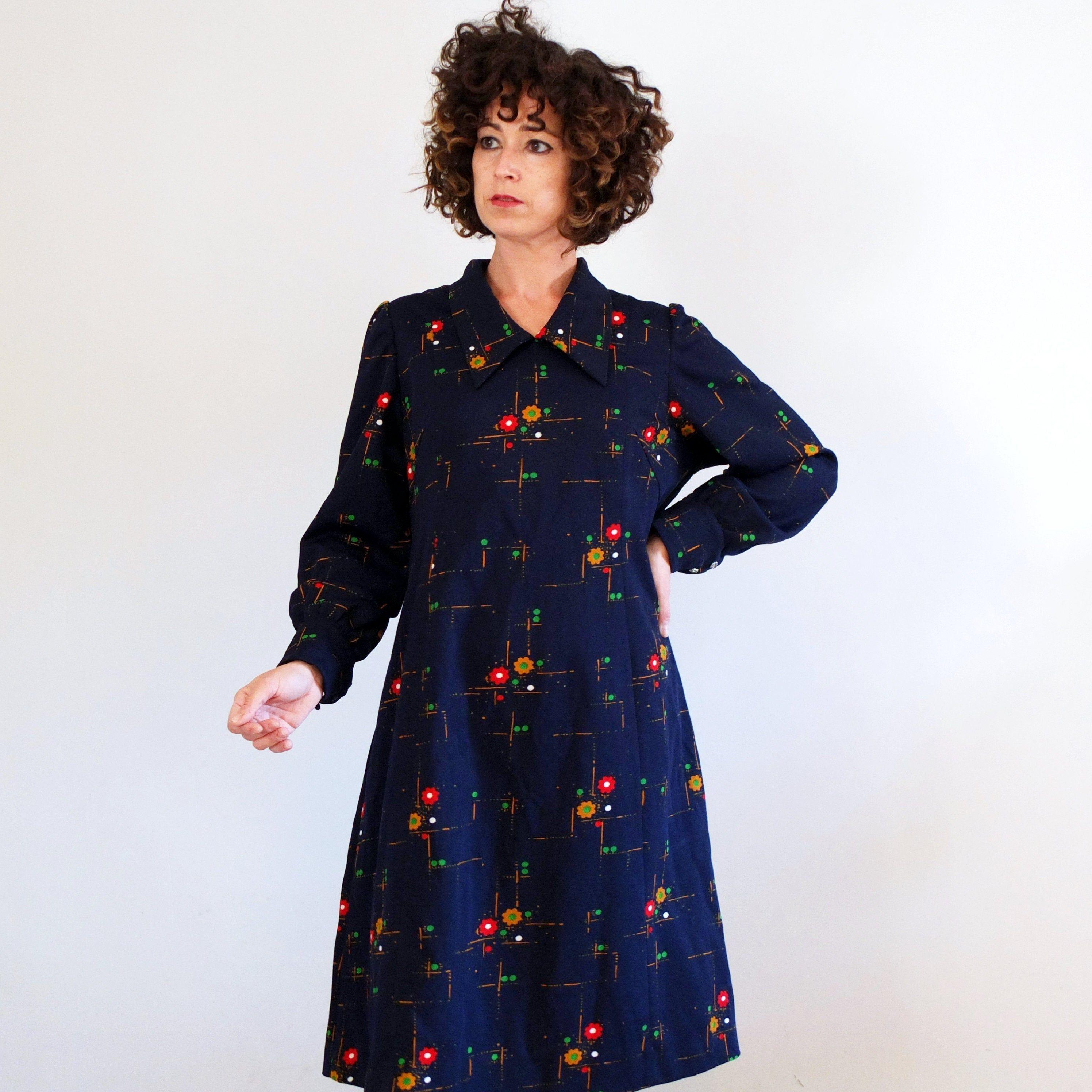 Vintage 70s Mod Shift Dress Plus Size Vintage Retro Dress Xl Etsy Retro Vintage Dresses Casual Day Dresses Retro Dress [ 2992 x 2992 Pixel ]