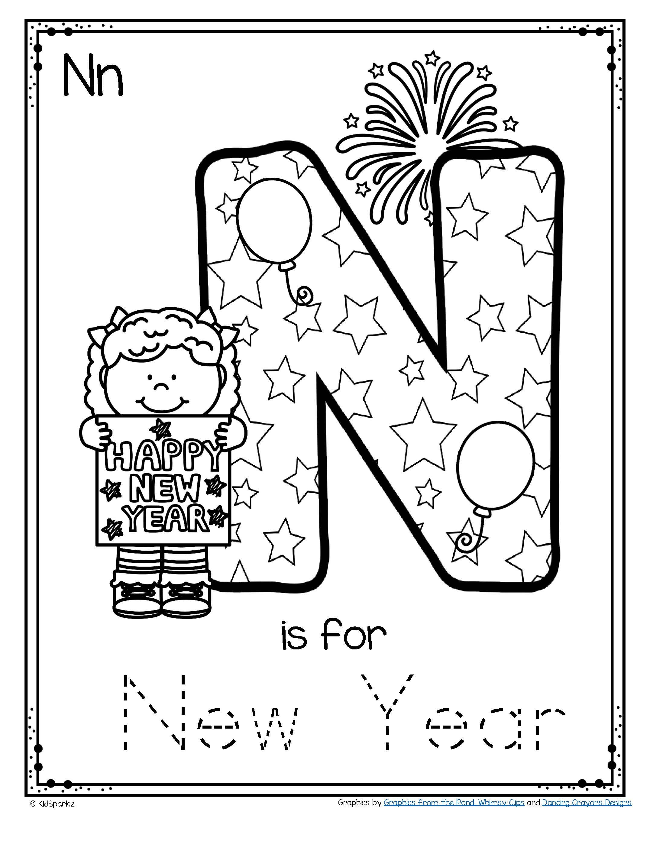 Letter N Is For New Year Trace And Color Printable Free In 2020 Kindergarten Letters Preschool Printables Lettering