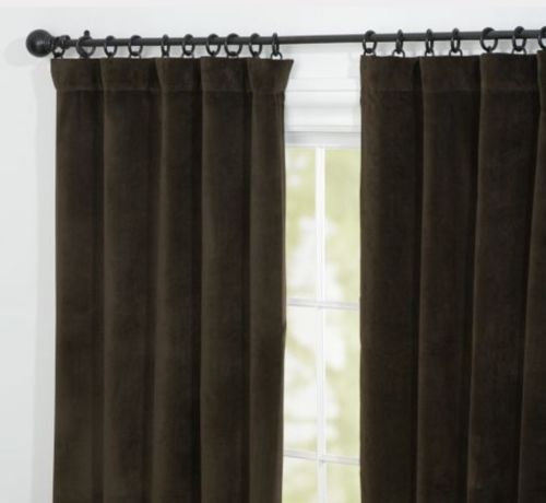 Pottery Barn 1 Solid Chocolate Brown Velvet Drapery Panel 50 X 108