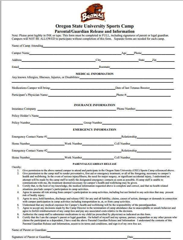 Please make sure to fill out the Medical Release Form and mail to - medical release forms