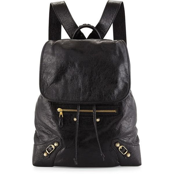Balenciaga Giant Lambskin Traveler Backpack ($1,895) ❤ liked on Polyvore featuring bags, backpacks, black, handbags backpacks, buckle backpack, travel backpack, day pack backpack, balenciaga bag and strap backpack