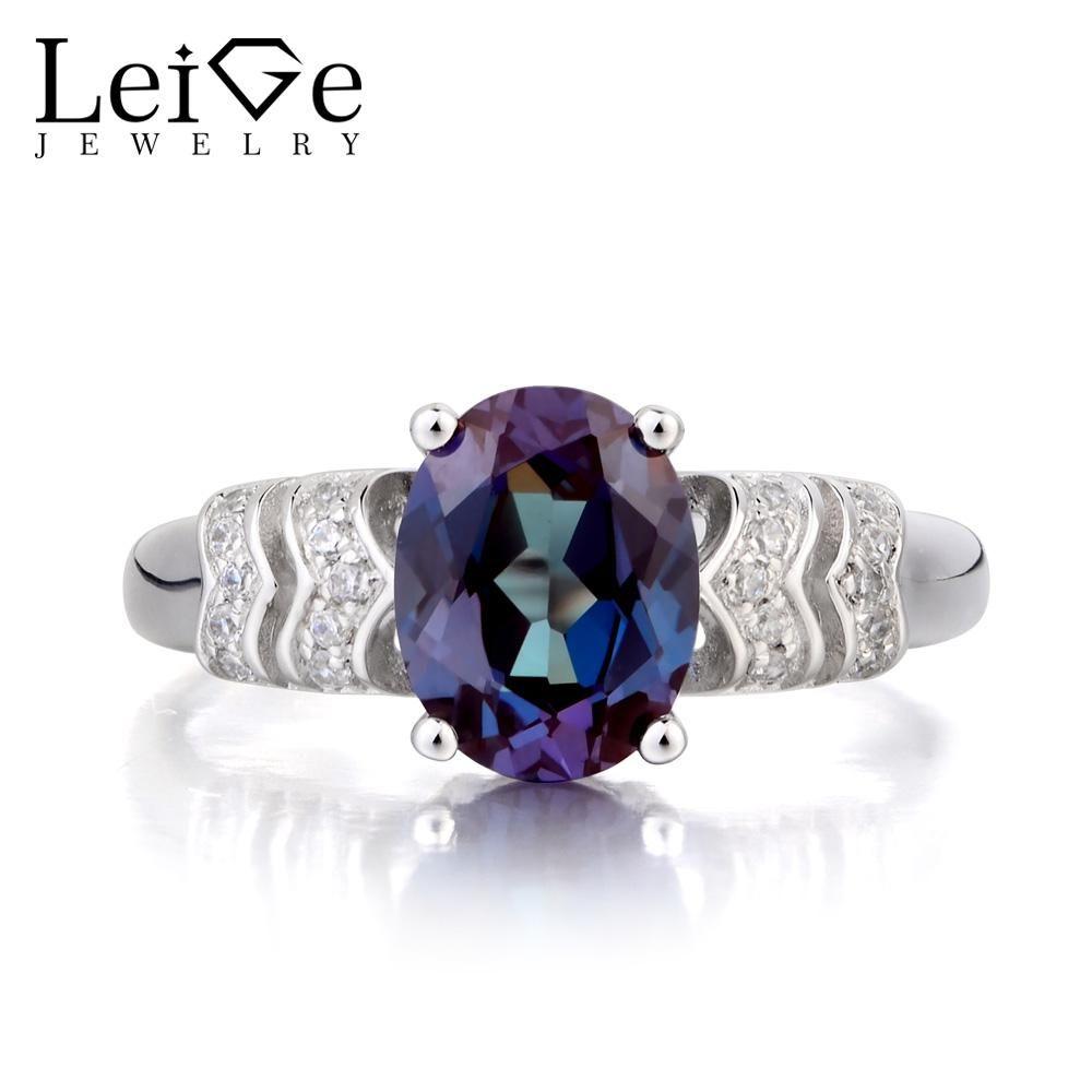 8a53402374 Leige Jewelry Alexandrite Ring Wedding Ring June Birthstone Oval Cut ...