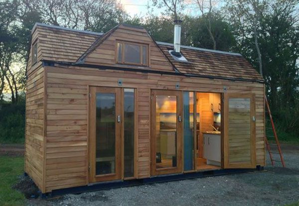 Shipping Container Tiny House With Wood Exterior