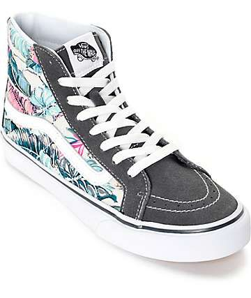 b6cb98316299ed Vans Sk8 Hi Slim Tropical Grey Shoes (Womens) huge fan of high top shoes  really nice design