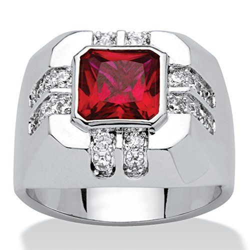 Mens CushionCut Red Cubic Zirconia PlatinumPlated Ring with White CZ Accents *** Learn more by visiting the image link.