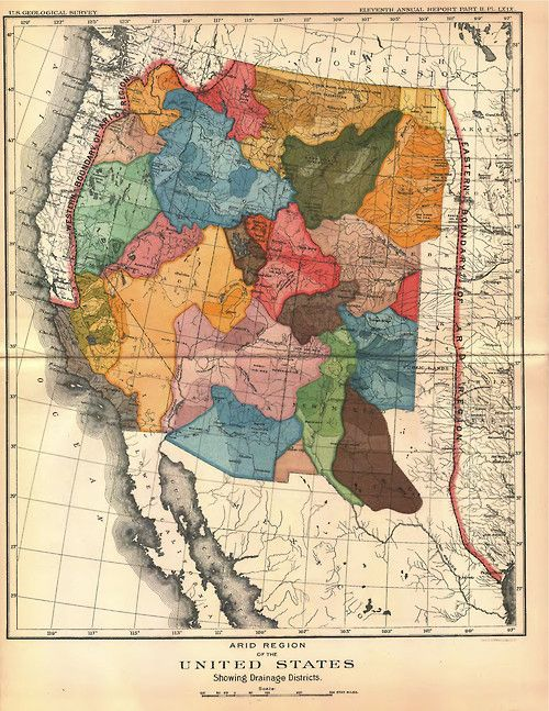 Circa 1891 US Geological Survey Western US Drainage Districts | Maps ...