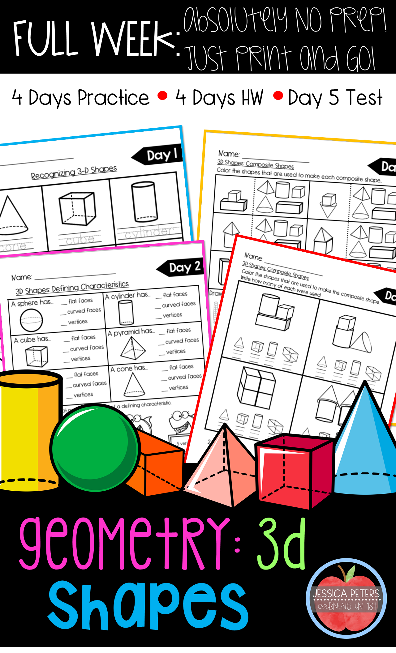 First Grade Math Geometry 3d Shapes Worksheets Hw Test