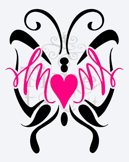 MOM With BUTTERFLY Decal  Valentine Day  Wall Decal  Window - Butterfly vinyl decals