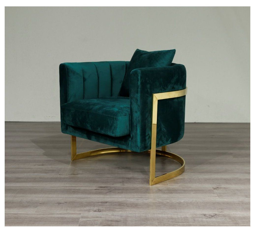 Emerald Green Velvet Gold Frame Arm Chair Accent Chair Free Uk Delivery Vinterior Emerald In 2021 Green Armchair Green Velvet Chair Accent Chairs For Living Room