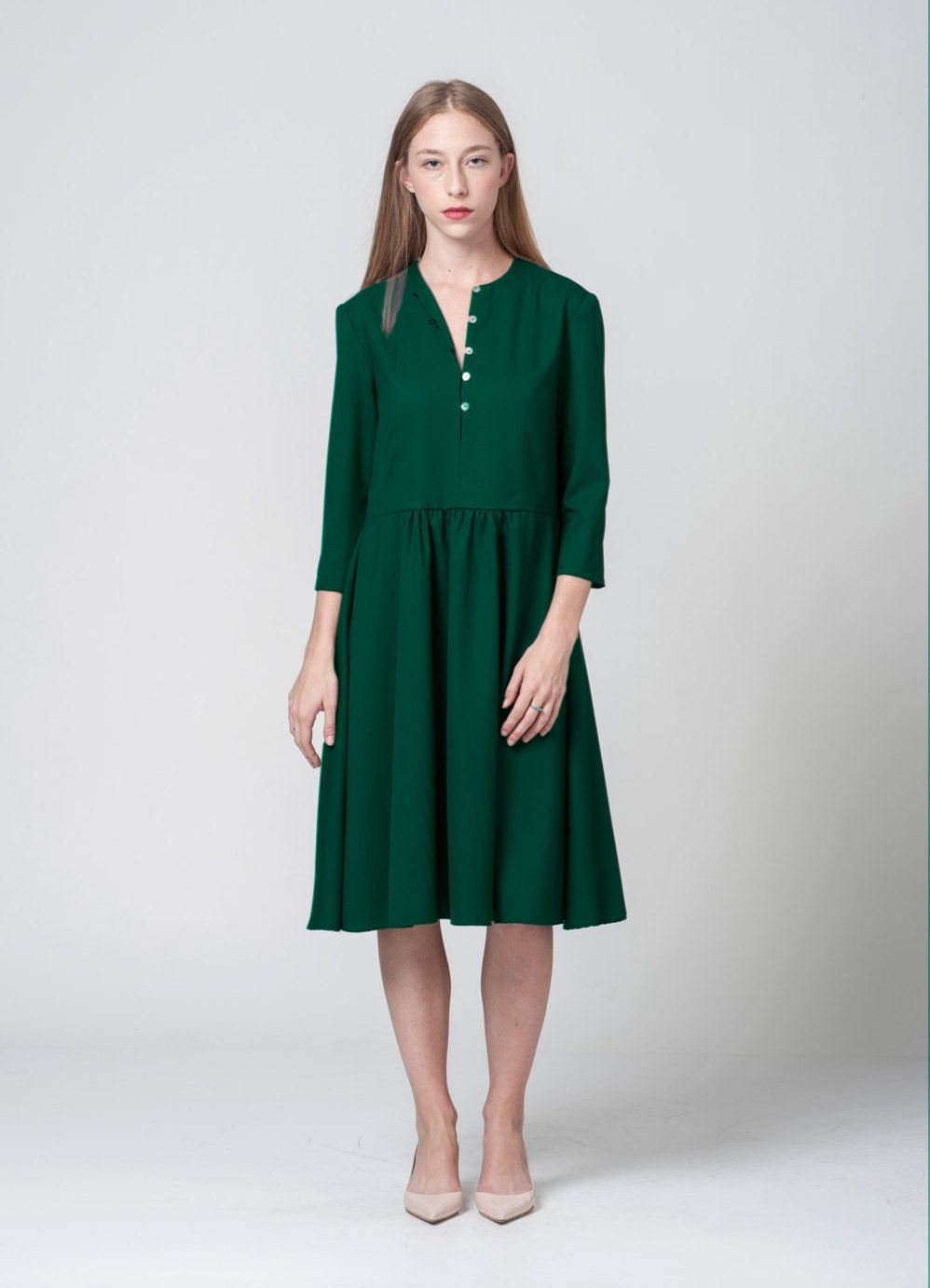 Emerald Midi Dress Engagement Midi Dress Long Sleeves Pleated Green Dress By Noisefashion On Etsy Taupe Midi Dress Dresses Long Sleeve Midi Dress [ 1383 x 998 Pixel ]