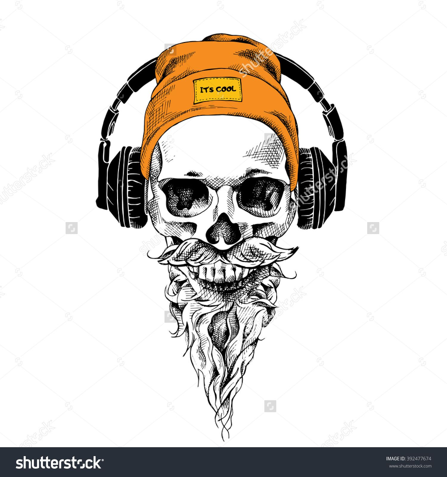skull with beard mustache in the hipster hat and headphones vector illustration skulls. Black Bedroom Furniture Sets. Home Design Ideas