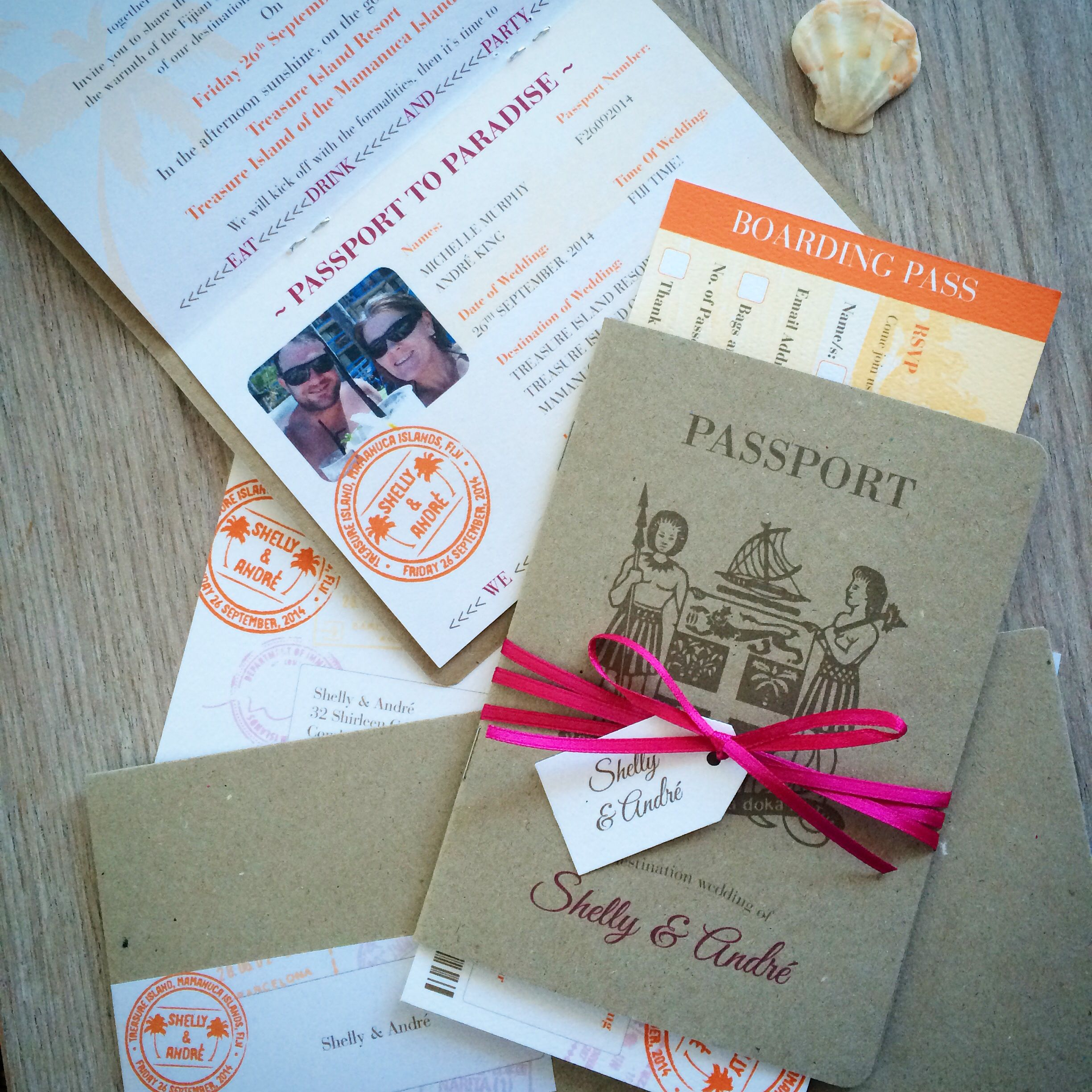 Fiji Passport invitations with a pink and orange twist #fiji ...