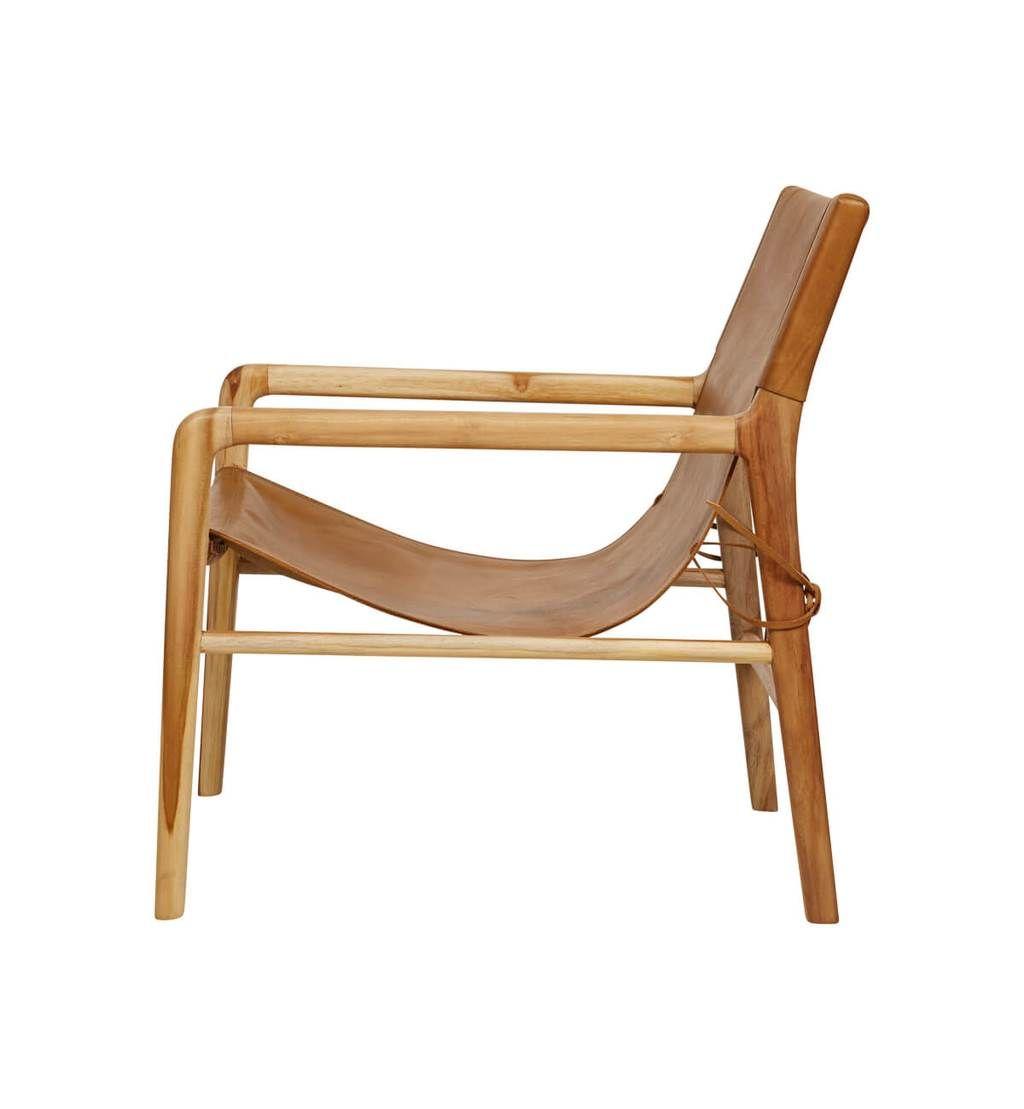 Fine Leather Sling Chair Teak Tan Tan In 2019 Cascade Spiritservingveterans Wood Chair Design Ideas Spiritservingveteransorg