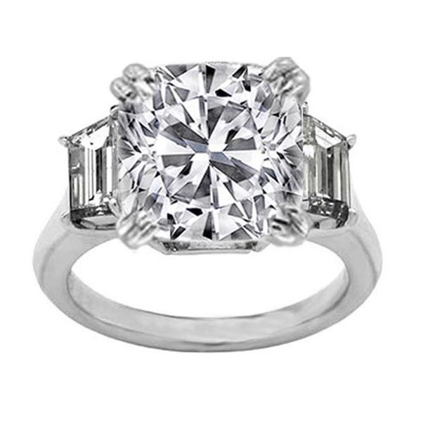 Cushion Diamond Engagement Ring with Trapezoid Diamond side stones 0.45 tcw.