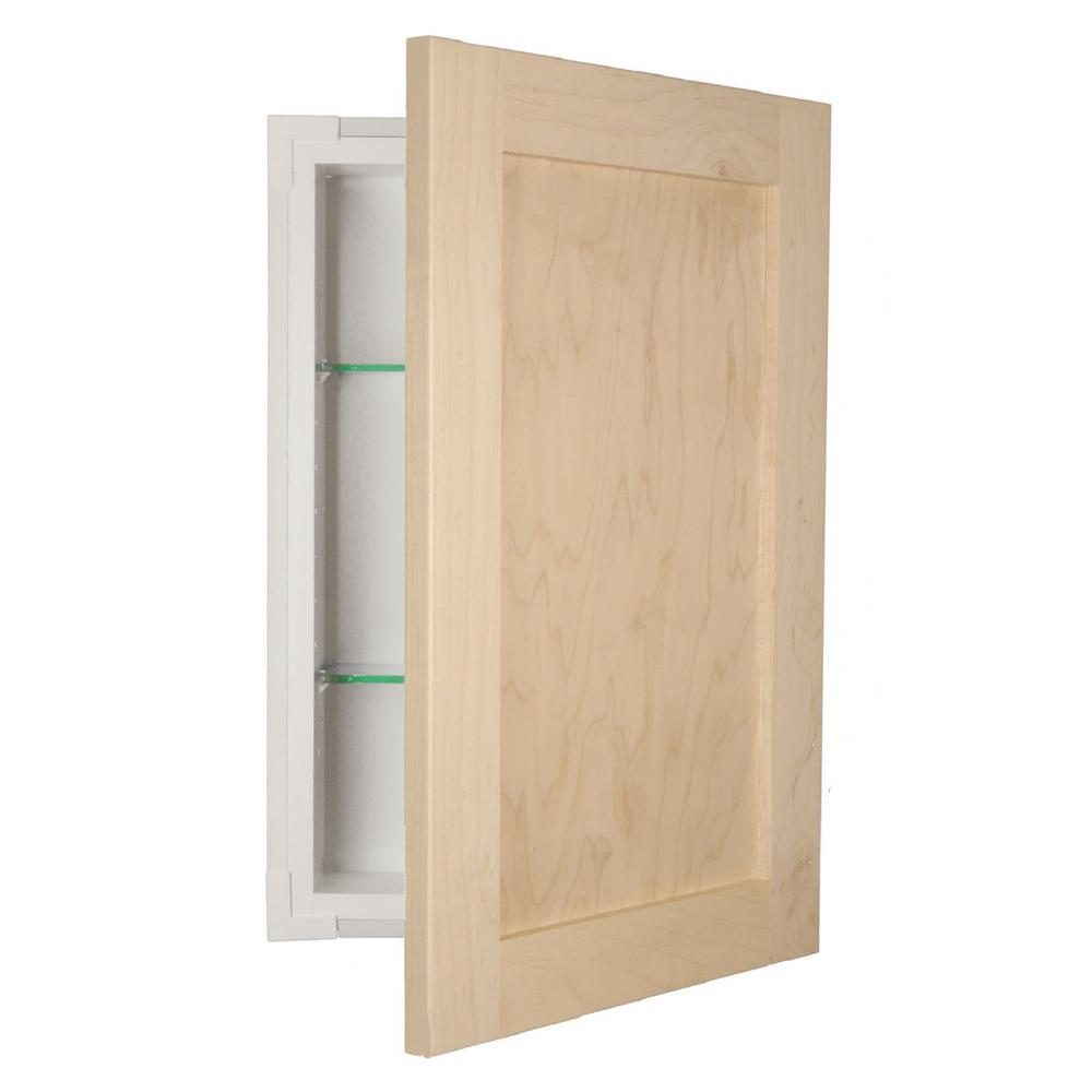 Silverton 14 In X 30 In X 4 In Recessed Medicine Cabinet In Unfinished Fr 230 Unf Door The Home Depot Recessed Medicine Cabinet Wood Medicine Cabinets Adjustable Shelving Bathroom cabinet recessed in wall