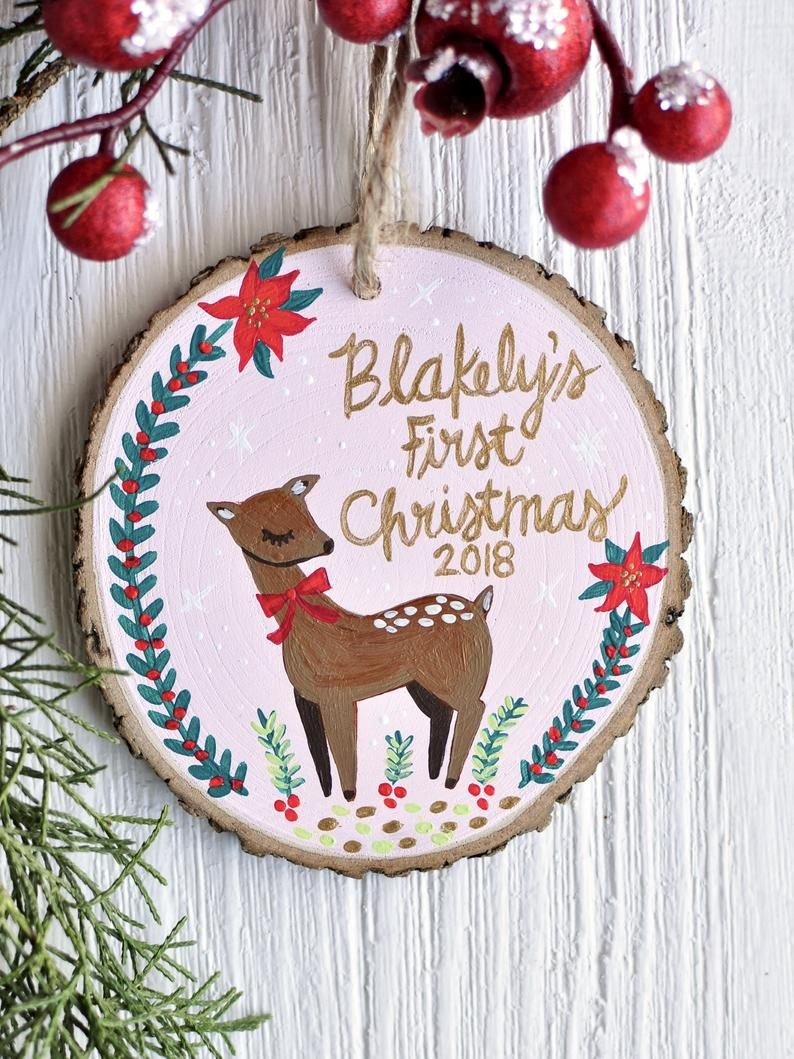 Personalized Baby Ornament Deer Ornament Custom Wood Etsy Personalized Baby Ornaments First Christmas Ornament Baby First Christmas Ornament