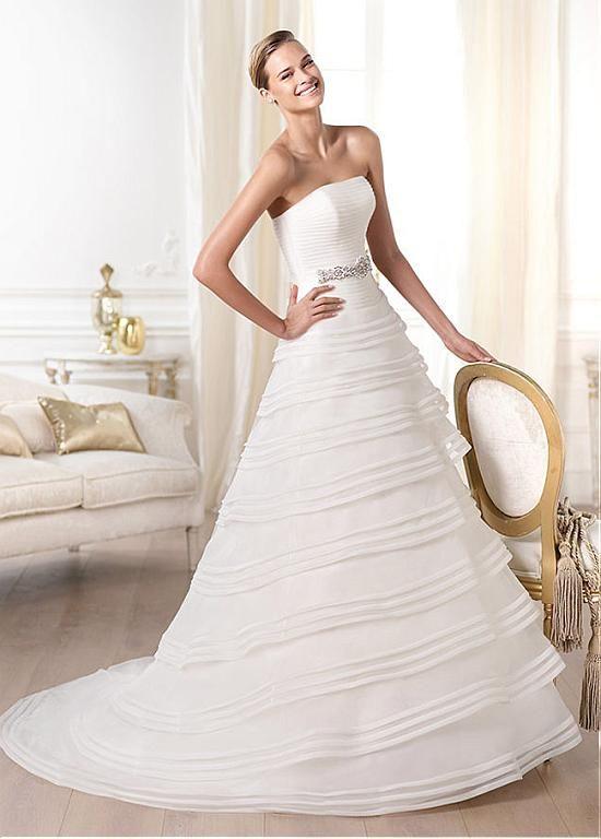Fantastic Organza Satin A Line Strapless Neckline Rais Ed Waistline Wedding Dress Ivory White Lace