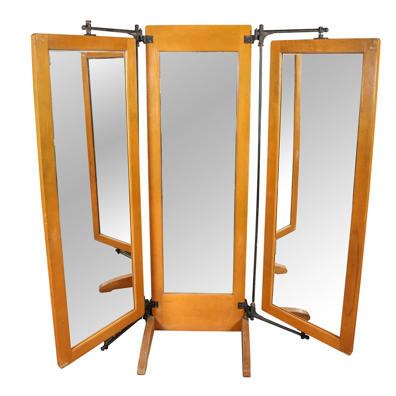Antique trifold dressing room mirror dressing room for Full length mirror in living room