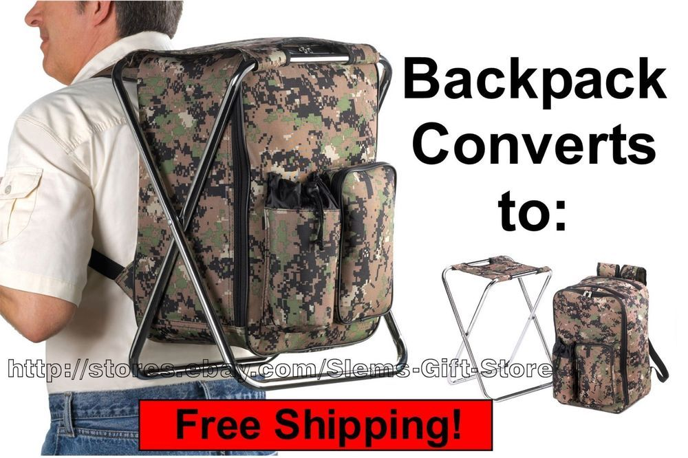 Camouflage Backpack Chair Combo Hunting Camping Fishing