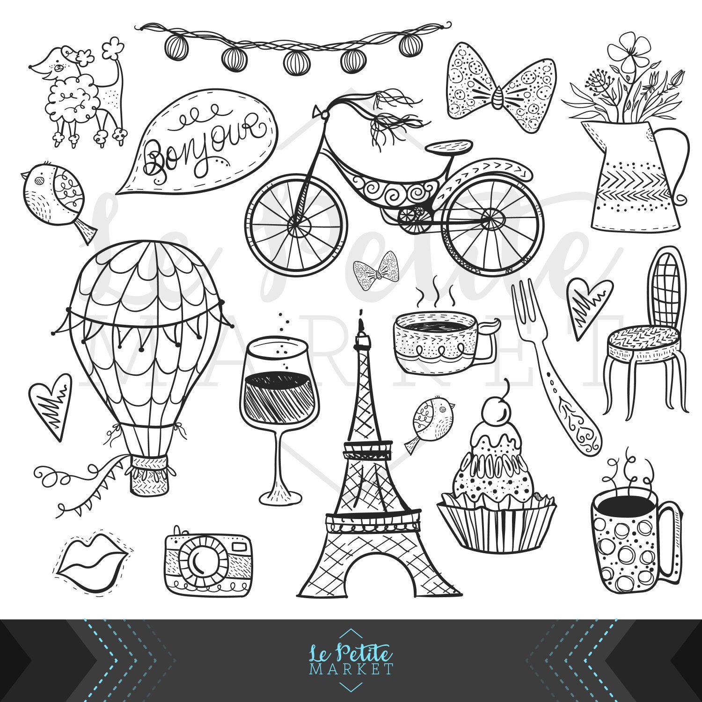 Cute Hand Drawn Digital Paris Clipart Set Eiffel Tower Clip Art Bicycle Cupcake Hot Air Balloon Heart Bird Flower Illustration