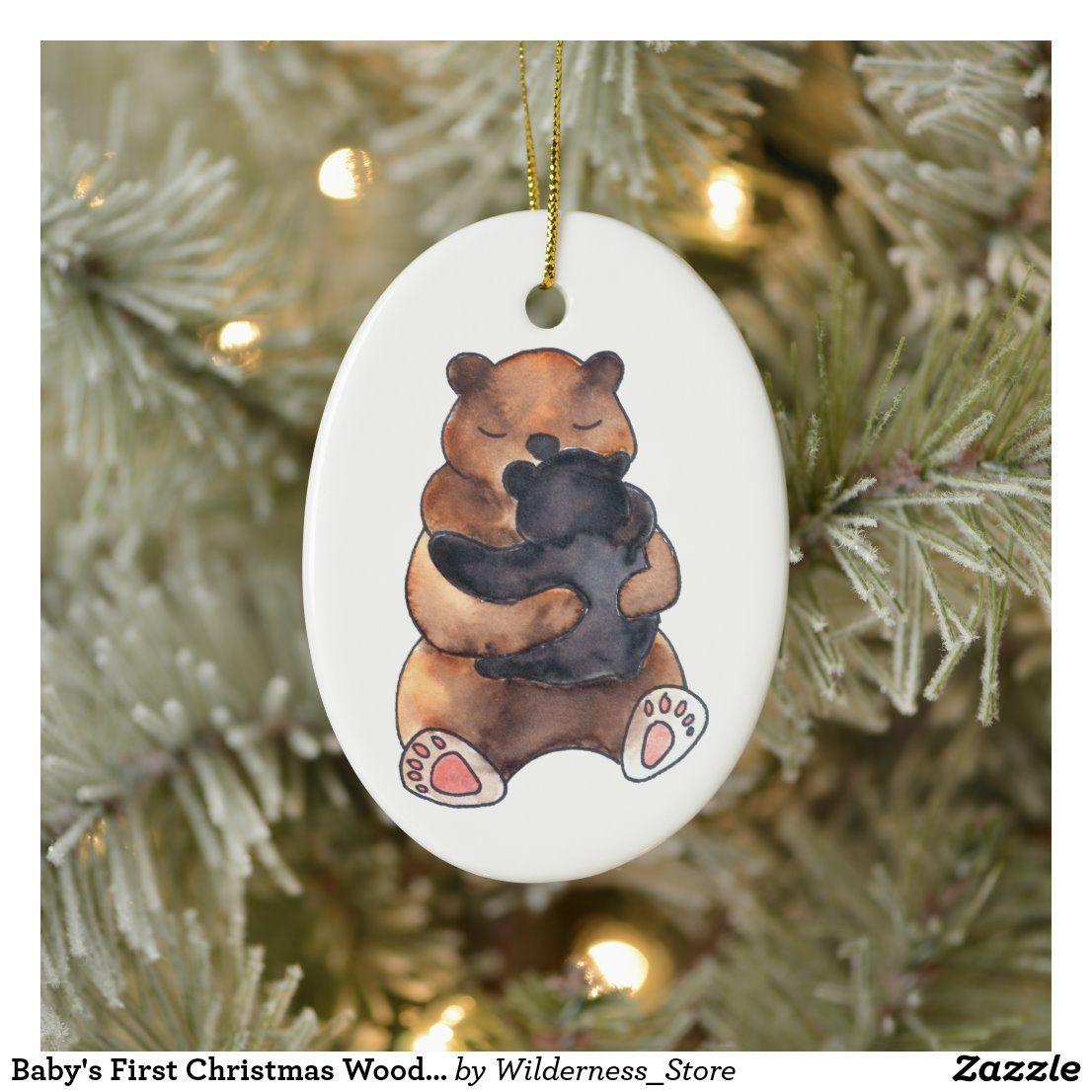 Cubs 2020 Christmas Ornament Baby's First Christmas Woodland Bear Hug Ceramic Ornament | Zazzle