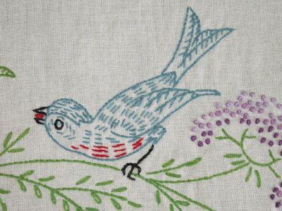 bluebirds in linens | BLUEBIRD embroidered runners